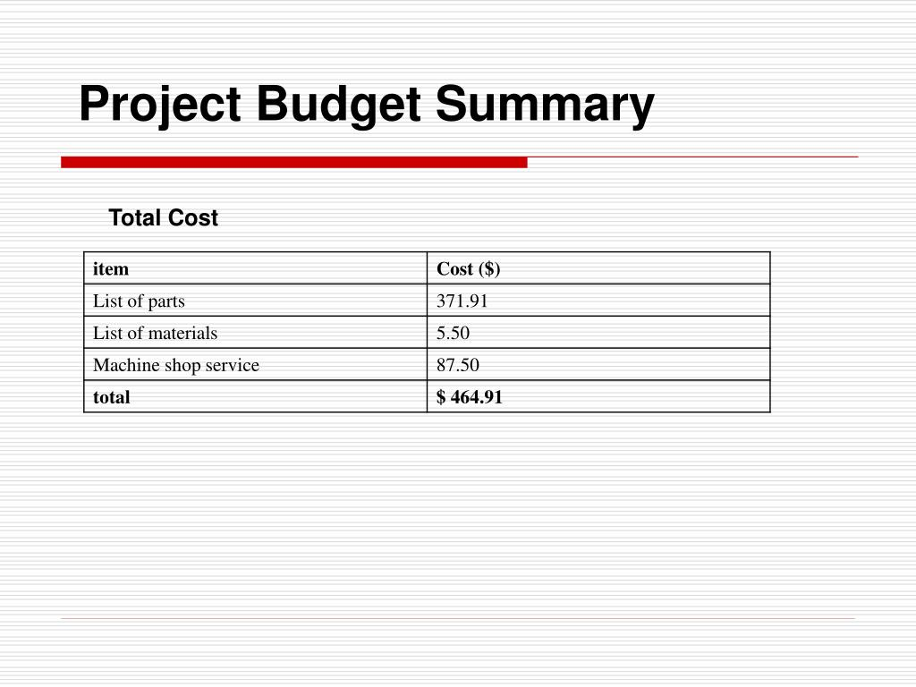 Project Budget Summary