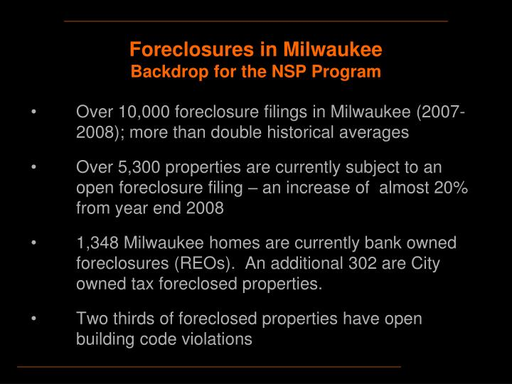 Foreclosures in milwaukee backdrop for the nsp program