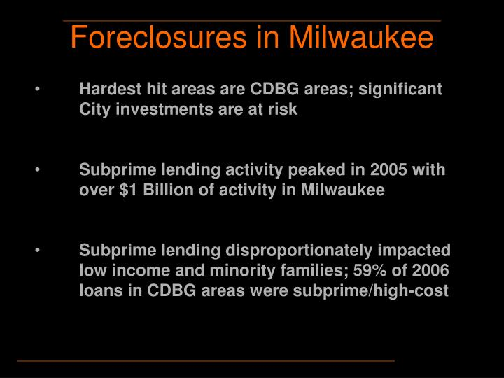 Foreclosures in milwaukee