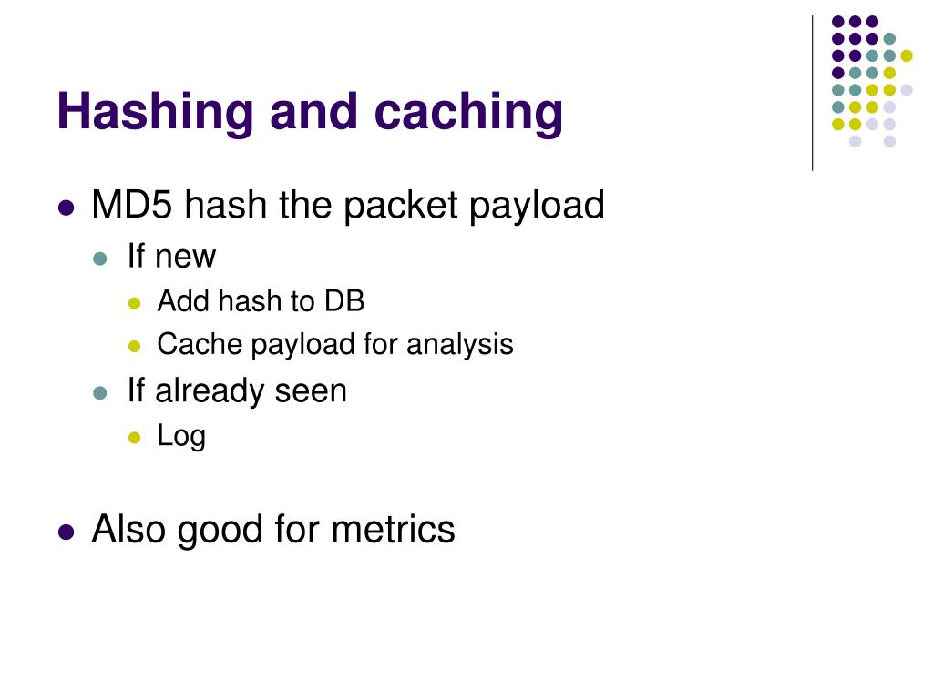 Hashing and caching
