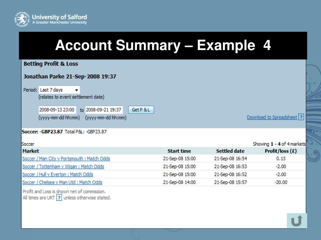Account Summary – Example  4
