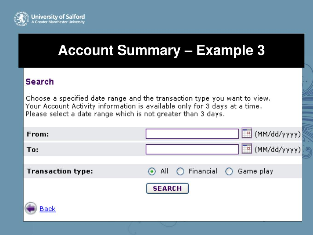 Account Summary – Example 3