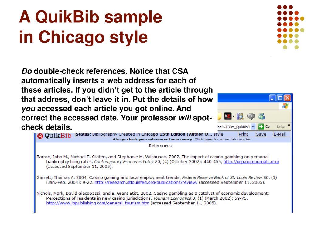 A QuikBib sample