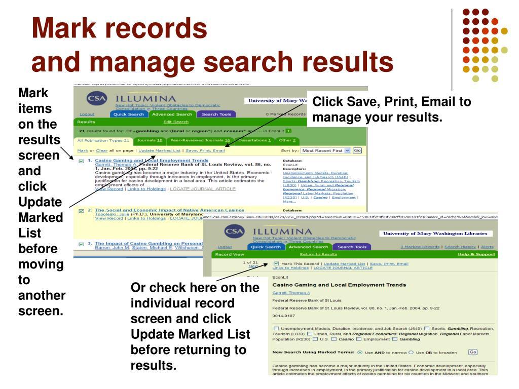 Mark records