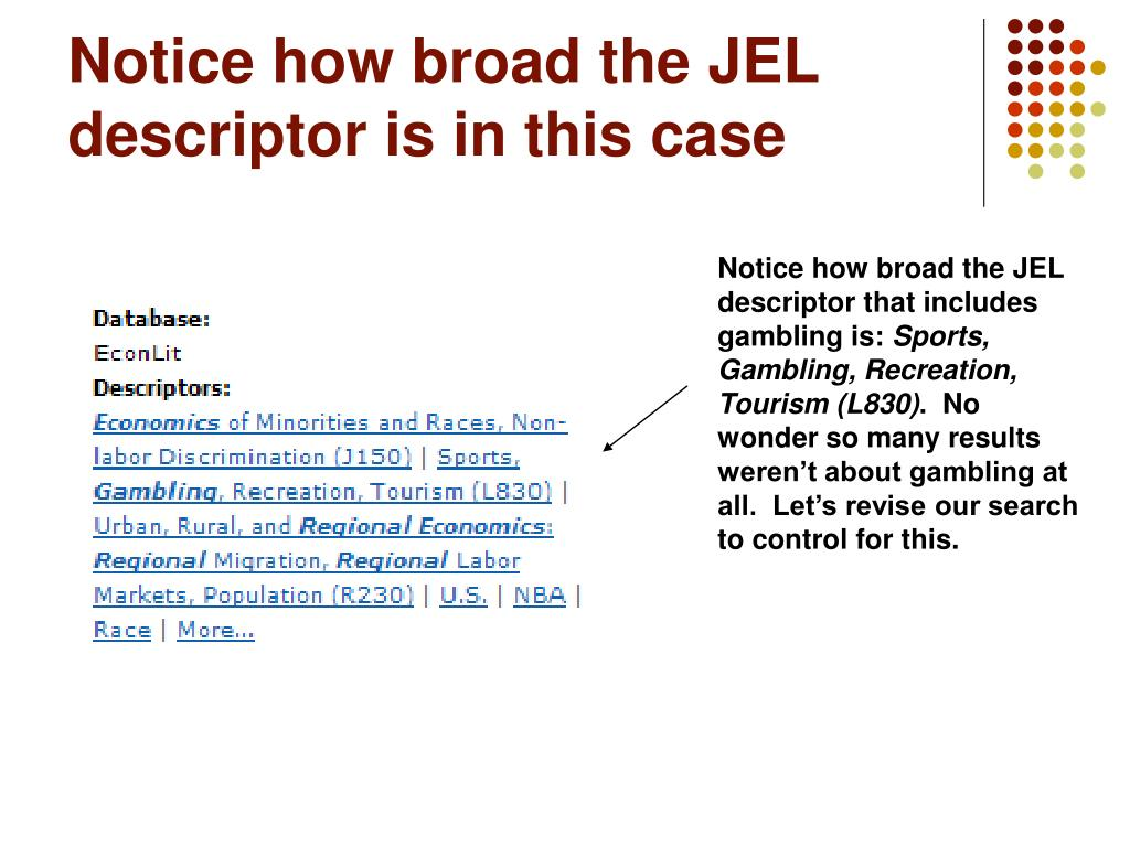 Notice how broad the JEL descriptor is in this case