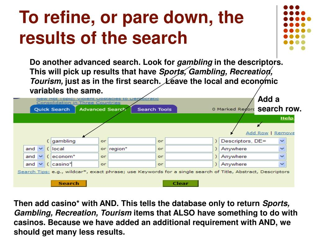 To refine, or pare down, the results of the search
