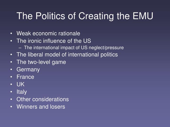 The politics of creating the emu
