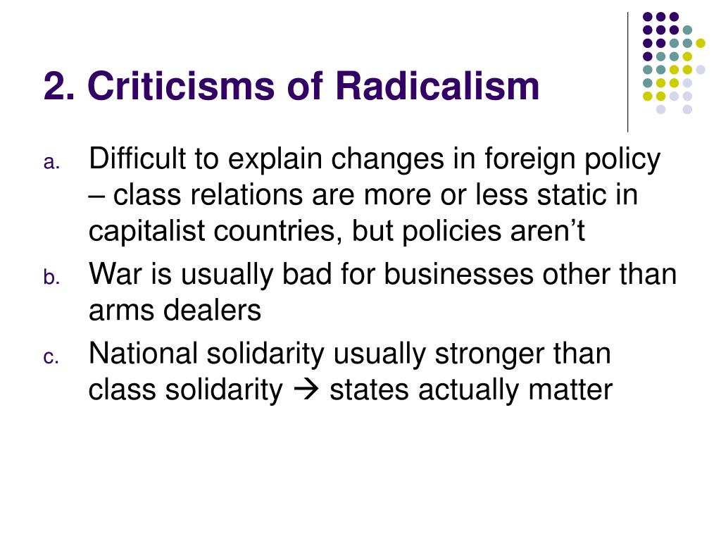 2. Criticisms of Radicalism