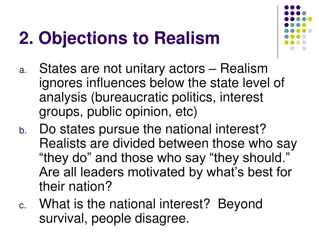 2. Objections to Realism