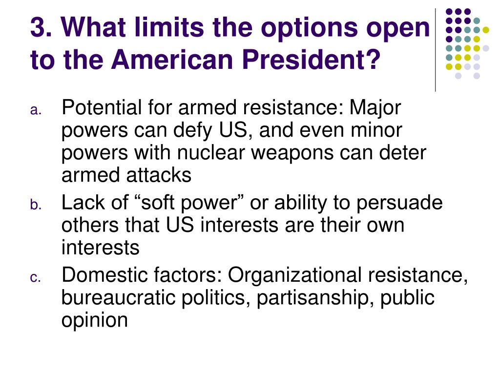 3. What limits the options open to the American President?
