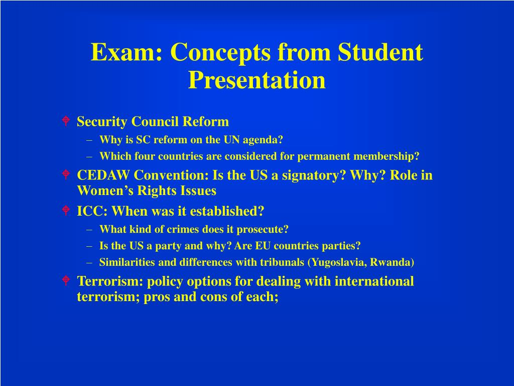 Exam: Concepts from Student Presentation