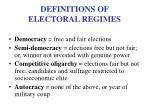 definitions of electoral regimes