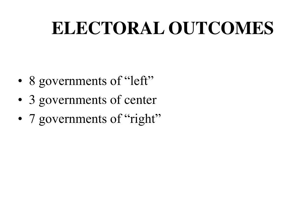 ELECTORAL OUTCOMES