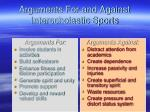 arguments for and against interscholastic sports