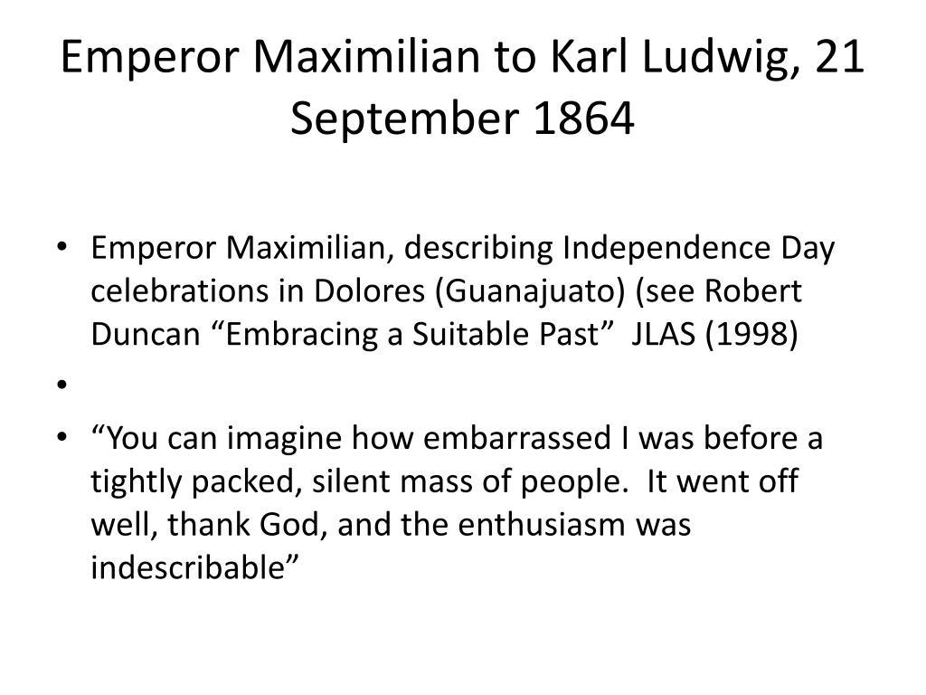 Emperor Maximilian to Karl Ludwig, 21 September 1864