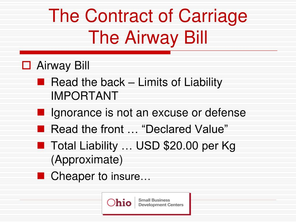 The Contract of Carriage