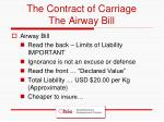 the contract of carriage the airway bill
