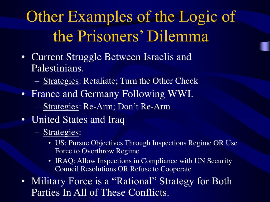 Other Examples of the Logic of the Prisoners' Dilemma