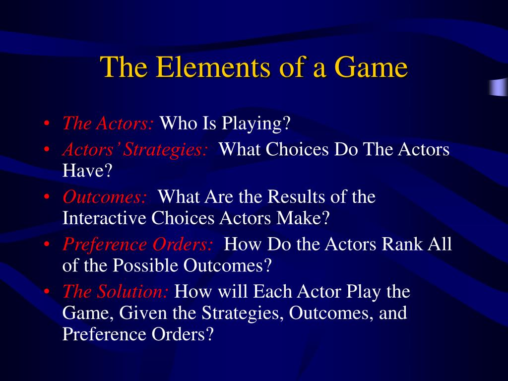 The Elements of a Game