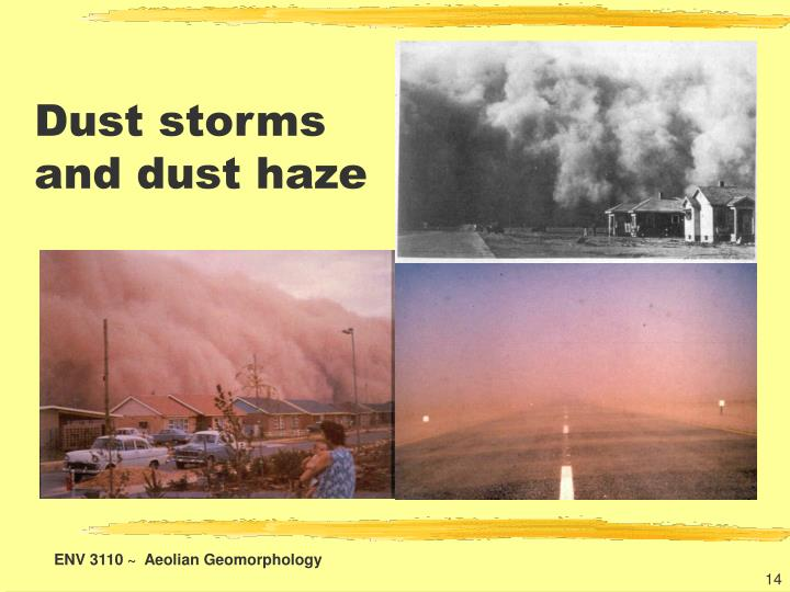 Dust storms and dust haze