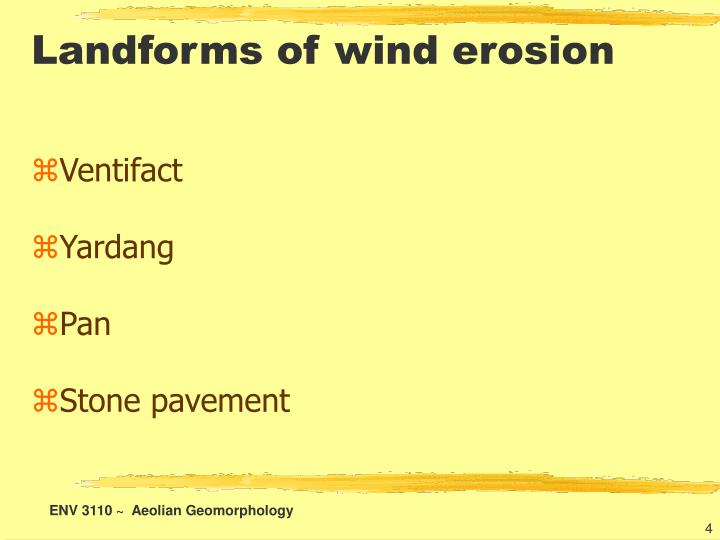 Landforms of wind erosion