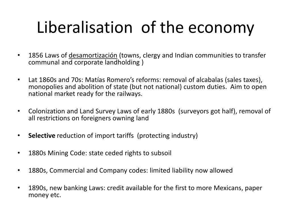 Liberalisation  of the economy