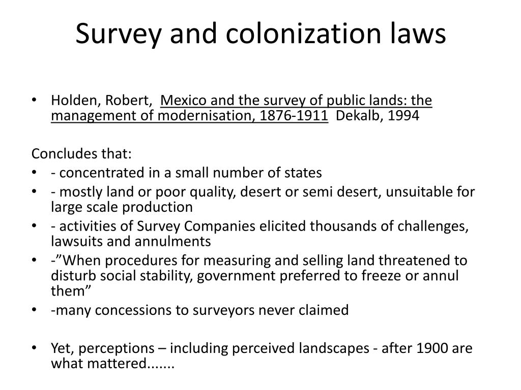 Survey and colonization laws