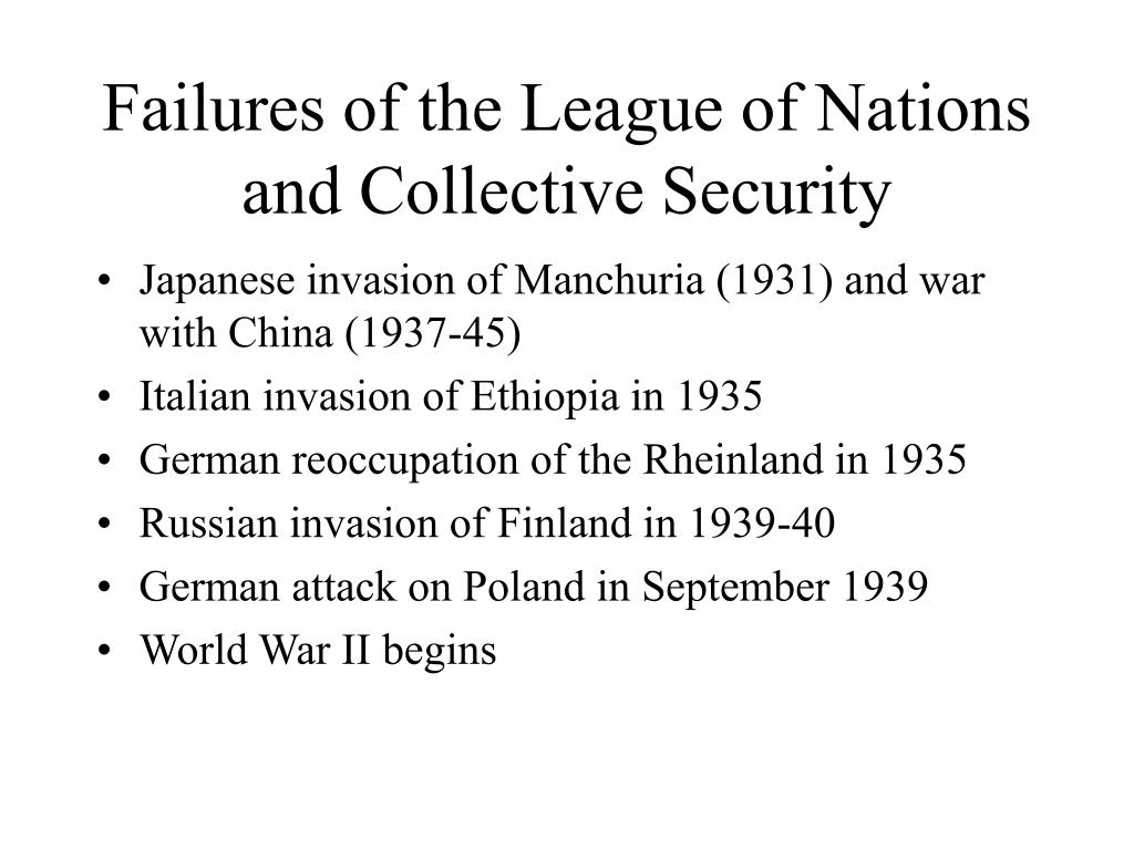 Failures of the League of Nations and Collective Security