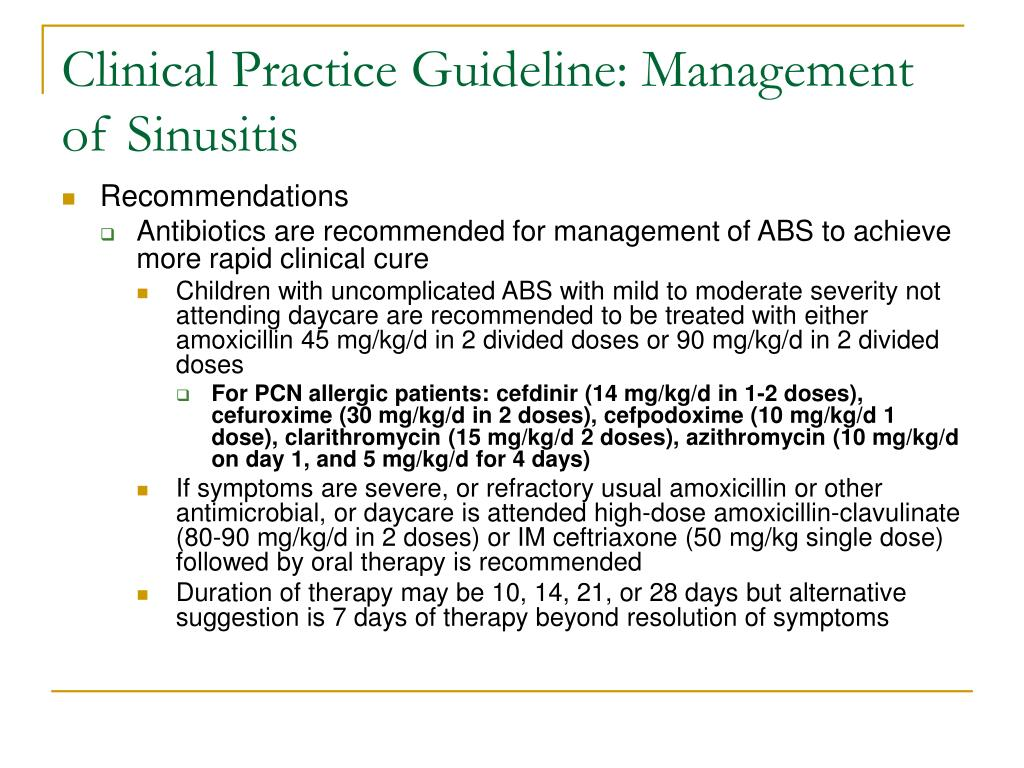Clinical Practice Guideline: Management of Sinusitis