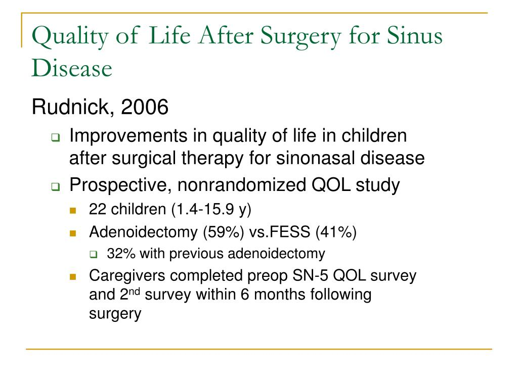 Quality of Life After Surgery for Sinus Disease