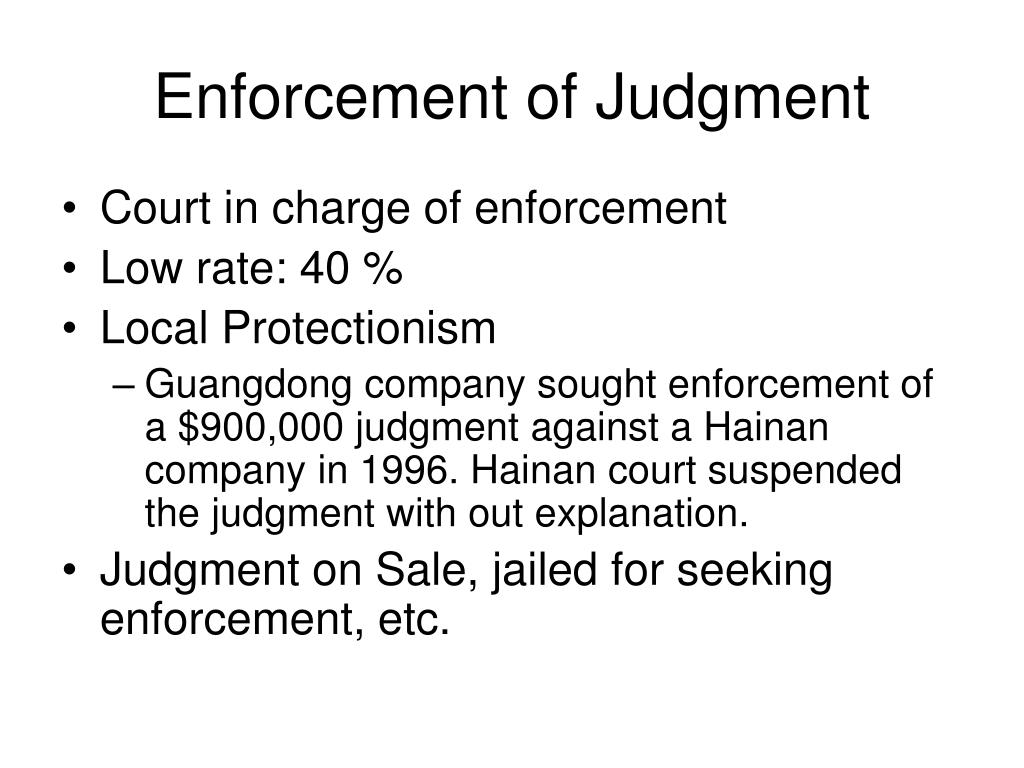 Enforcement of Judgment