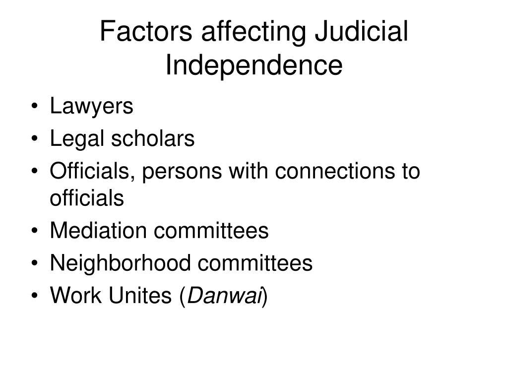 Factors affecting Judicial Independence