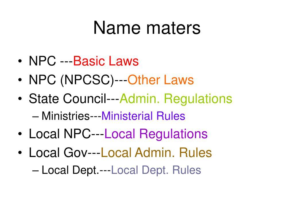 Name maters