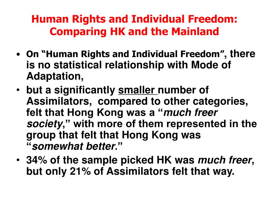 Human Rights and Individual Freedom: Comparing HK and the Mainland