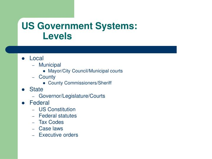 Us government systems levels