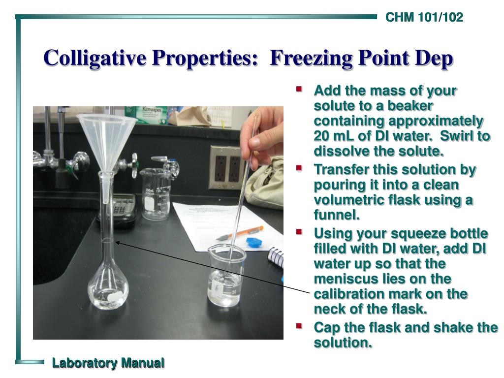 Add the mass of your solute to a beaker containing approximately 20 mL of DI water.  Swirl to dissolve the solute.