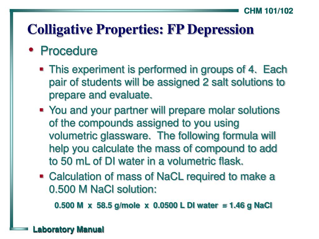 Colligative Properties: FP Depression