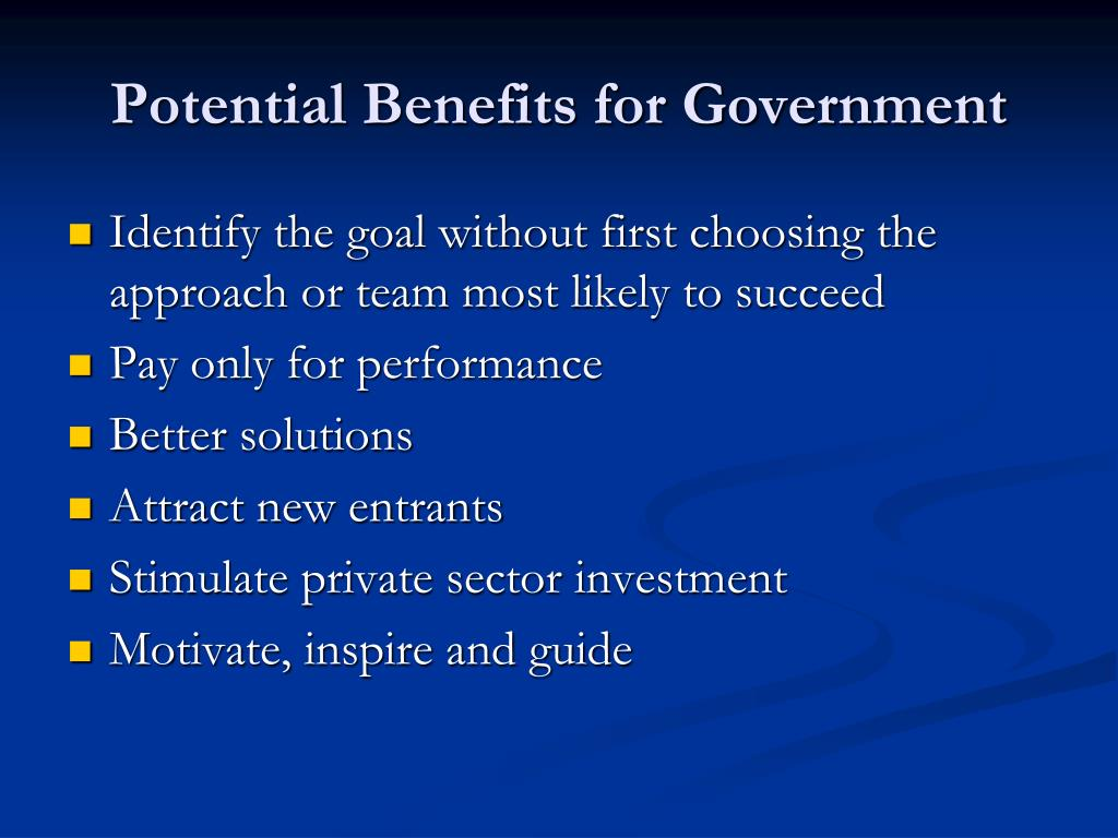 Potential Benefits for Government