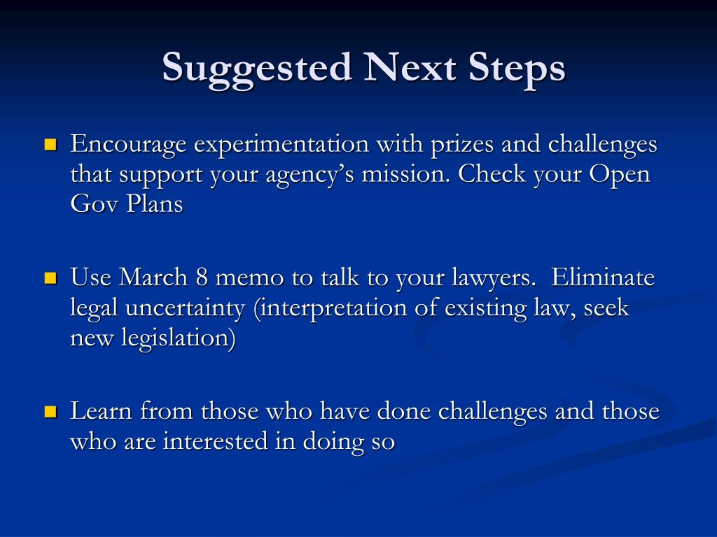 Suggested Next Steps