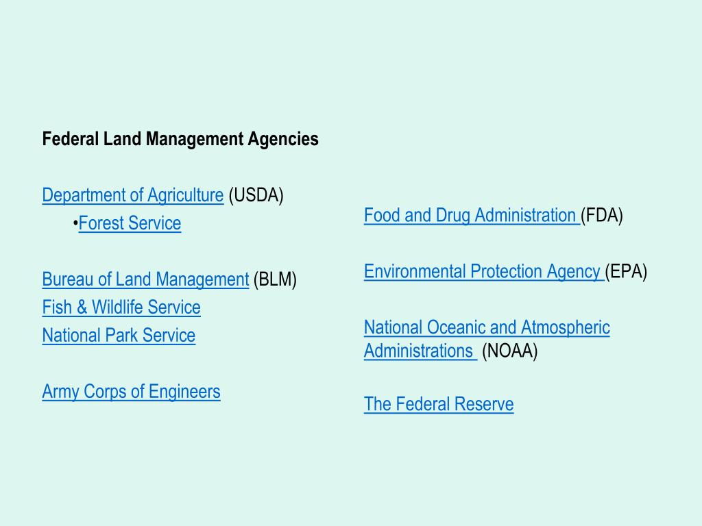 Federal Land Management Agencies