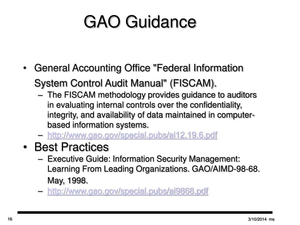GAO Guidance