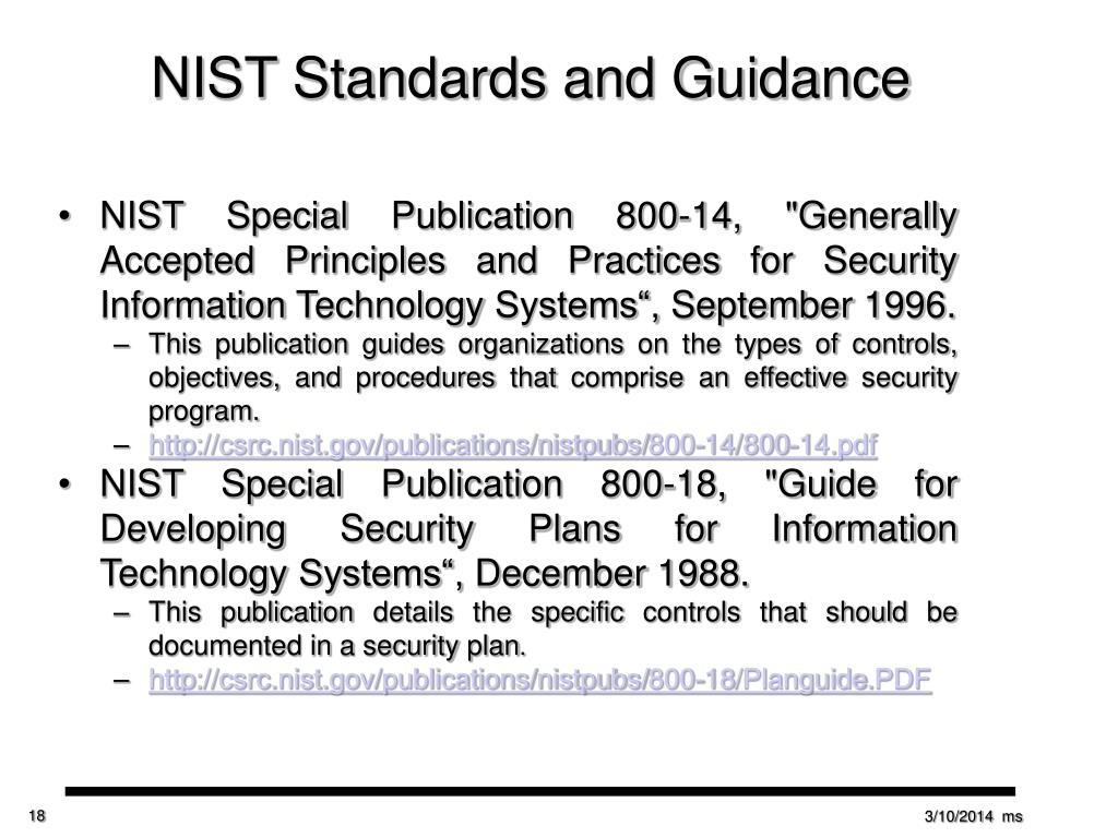 NIST Standards and Guidance