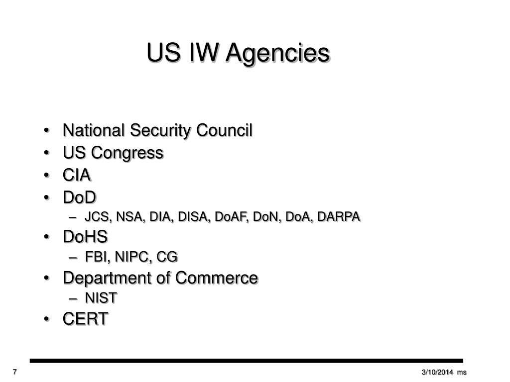 US IW Agencies