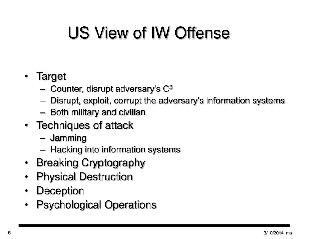 US View of IW Offense