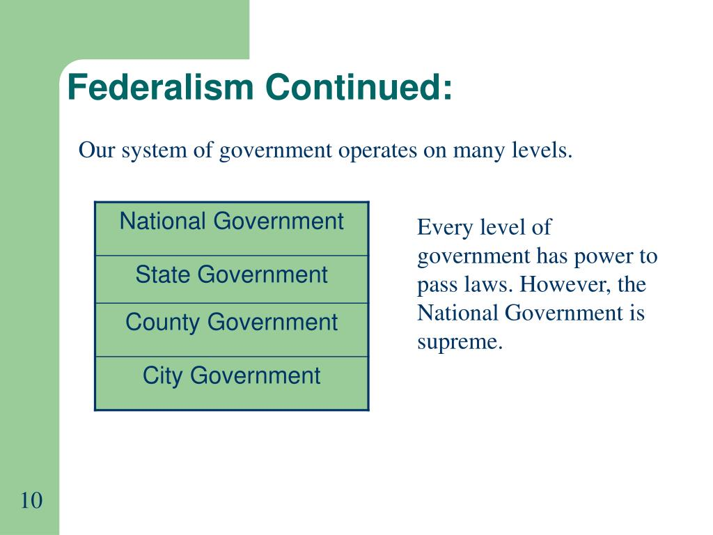 Federalism Continued: