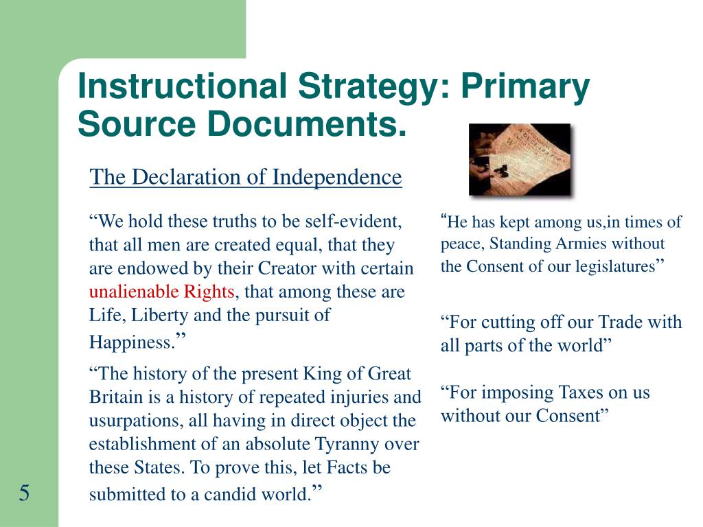 Instructional Strategy: Primary Source Documents.