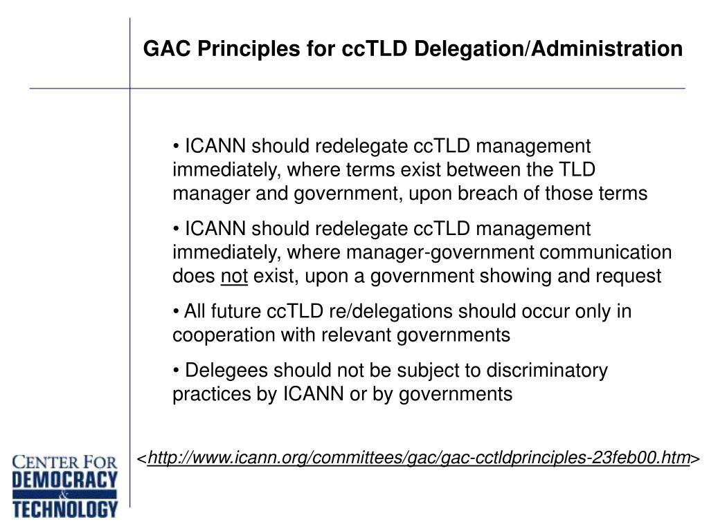 GAC Principles for ccTLD Delegation/Administration