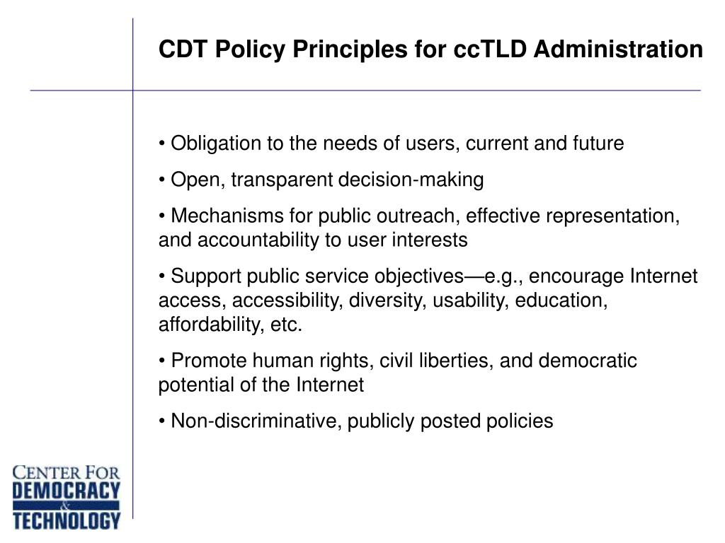 CDT Policy Principles for ccTLD Administration