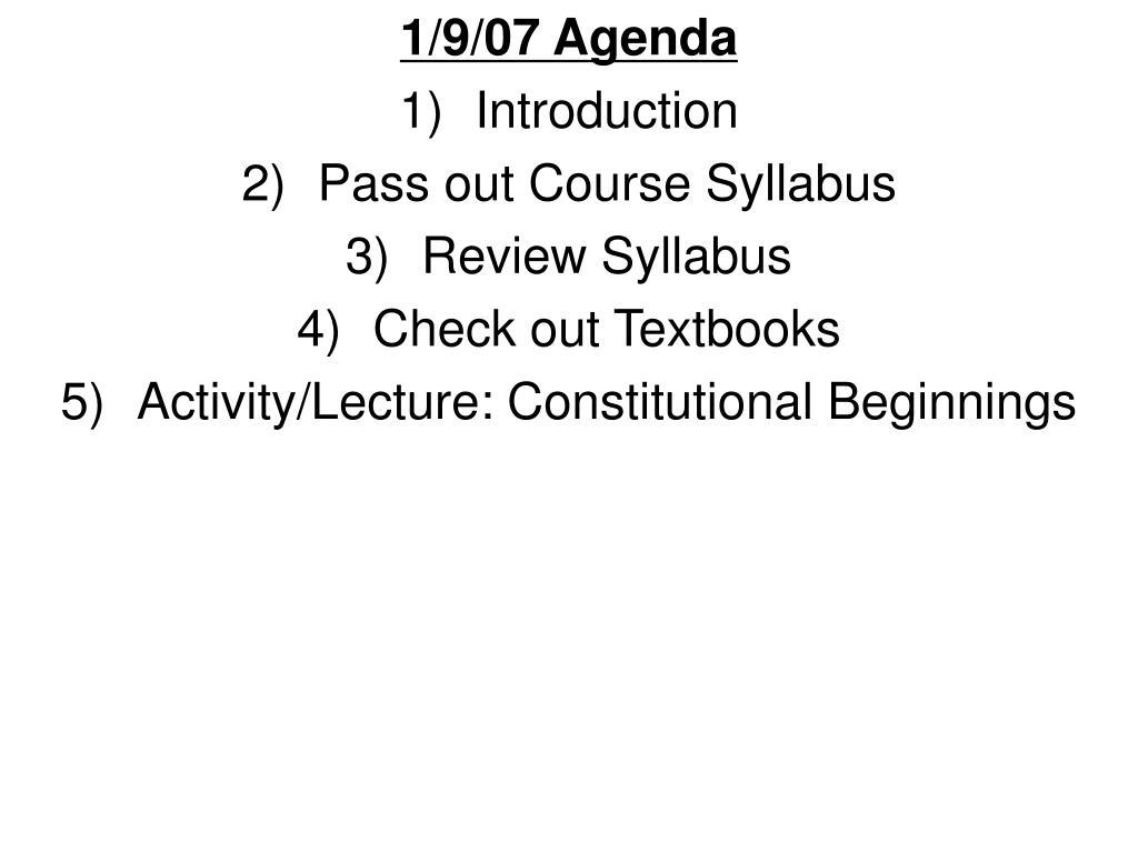 1/9/07 Agenda