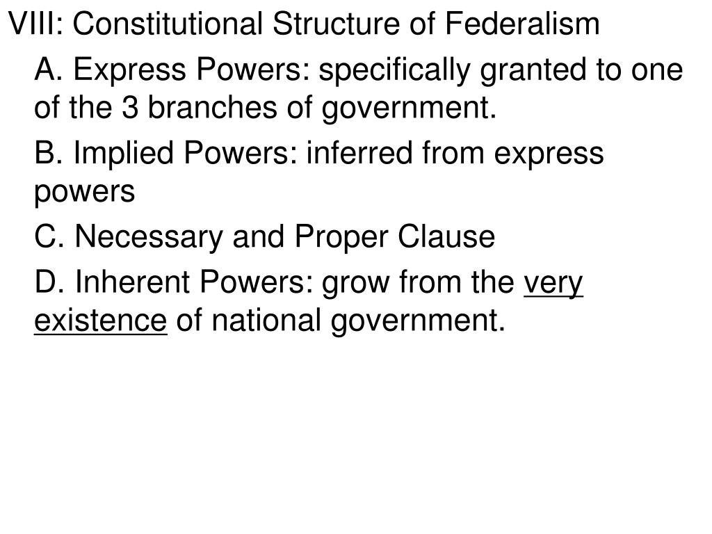VIII: Constitutional Structure of Federalism